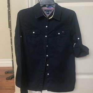 Tommy Hilfiger navy button down blouse